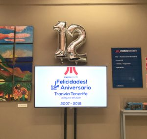 Pantalla con la proyección '¡Felicidades! 12º Aniversario. Tranvía de Tenerife' en la recepción de Metrotenerife.